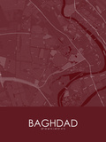 Baghdad, Iraq Red Map Posters