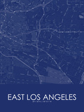 East Los Angeles, United States of America Blue Map Prints
