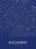 Bucharest, Romania Blue Map Poster