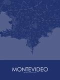 Montevideo, Uruguay Blue Map Print