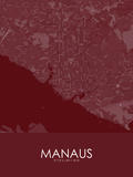 Manaus, Brazil Red Map Posters