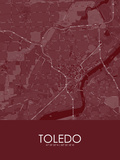 Toledo, United States of America Red Map Posters