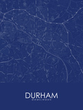 Durham, United States of America Blue Map Posters