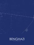 Benghazi, Libya Blue Map Posters