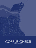 Corpus Christi, United States of America Blue Map Photo
