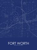 Fort Worth, United States of America Blue Map Print