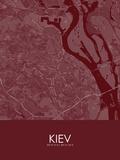 Kiev, Ukraine Red Map Prints