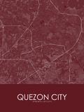 Quezon City, Philippines Red Map Prints