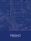 Fresno, United States of America Blue Map Poster