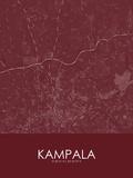 Kampala, Uganda Red Map Posters