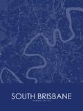 South Brisbane, Australia Blue Map Posters