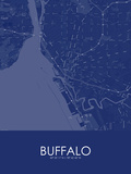 Buffalo, United States of America Blue Map Prints