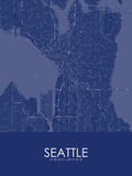 Seattle, United States of America Blue Map Prints