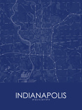 Indianapolis, United States of America Blue Map Prints