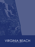 Virginia Beach, United States of America Blue Map Posters