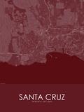 Santa Cruz, United States of America Red Map Posters