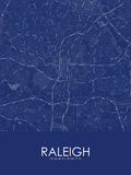 Raleigh, United States of America Blue Map Print