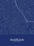 Warsaw, Poland Blue Map Posters