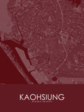 Kaohsiung, Taiwan, Republic of China Red Map Print