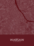Warsaw, Poland Red Map Posters