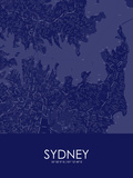 Sydney, Australia Blue Map Print