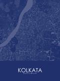 Kolkata, India Blue Map Prints