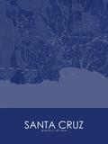 Santa Cruz, United States of America Blue Map Posters