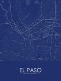 El Paso, United States of America Blue Map Prints