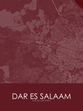 Dar es Salaam, Tanzania *, United Republic of Red Map Poster