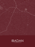 Ibadan, Nigeria Red Map Posters