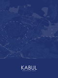 Kabul, Afghanistan Blue Map Poster