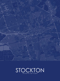 Stockton, United States of America Blue Map Posters