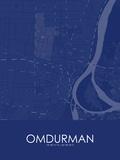 Omdurman, Sudan Blue Map Print