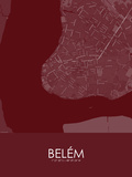Belem, Brazil Red Map Posters