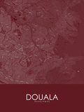 Douala, Cameroon Red Map Prints
