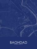Baghdad, Iraq Blue Map Prints