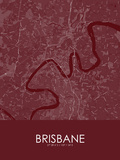 Brisbane, Australia Red Map Posters