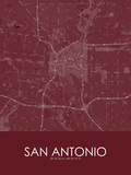 San Antonio, United States of America Red Map Posters