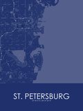 St. Petersburg, United States of America Blue Map Print