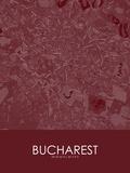 Bucharest, Romania Red Map Print