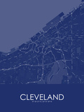 Cleveland, United States of America Blue Map Posters