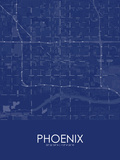 Phoenix, United States of America Blue Map Posters