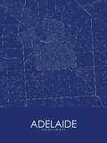 Adelaide, Australia Blue Map Photo