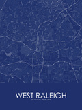West Raleigh, United States of America Blue Map Photo