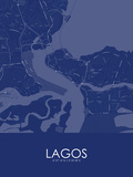 Lagos, Nigeria Blue Map Pôsters