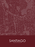 Santiago, Chile Red Map Prints