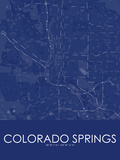 Colorado Springs, United States of America Blue Map Prints