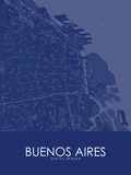 Buenos Aires, Argentina Blue Map Prints