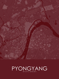 Pyongyang, Korea, Democratic People's Republic of Red Map Posters