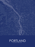Portland, United States of America Blue Map Prints